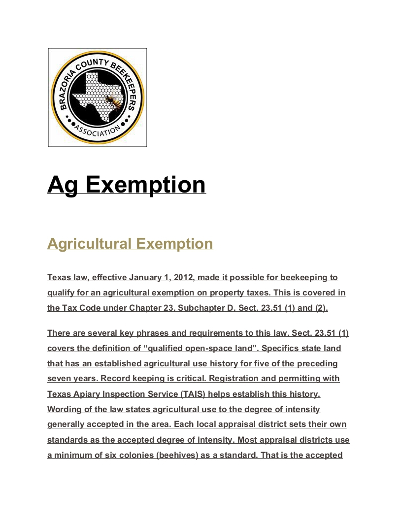 Brazoria County Beekeepers Association - Bees As Ag Exemption